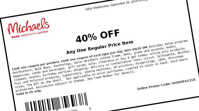 Michael's Offers 40% Off One Item At Regular Price Through September 29, 2018